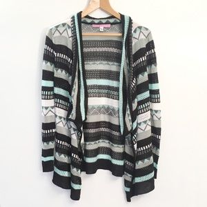 Say What? Aztec Open Front Cardigan Sweater Large